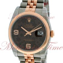 Rolex Datejust 36mm, Chocolate Floral Dial, Domed Bezel - Pink...