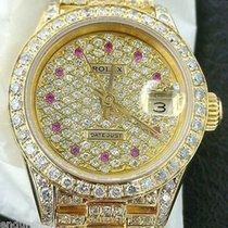 Rolex Ladies President 18k Gold Diamonds Everywhere & Ruby...