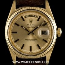 Rolex 18k Yellow Gold Champagne Baton Dial Vintage Day-Date 1803