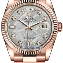 Rolex Day-Date 36mm Everose Gold Fluted Bezel 118235 Meteorite...