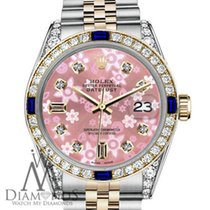 Rolex 26mm Datejust 2tone Peach Flower Sapphire & Diamond...