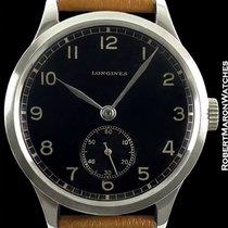 Longines Vintage 12.68z 37mm Steel Rare Black Gilt Dial