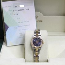 Rolex Ladies Oyster Perpetual 76193 Blue Dial 18k Gold &...