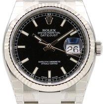 Rolex Datejust 36 116234-BLKSFO Black Index Fluted White Gold...