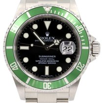 Rolex Submariner 16610LV Green 50th Anniversary Black Date...