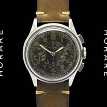 Tavannes Rare Chronograph Black Gilt Dial, 1940s Superb
