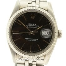 Rolex Datejust Vintage Black 36mm Steel Automatic Plexi Glass...