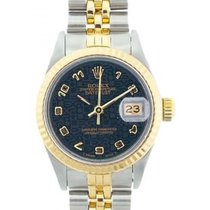 Rolex Datejust Ladies' 26mm Dark Navy Blue Dial Yellow...