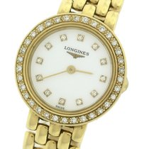 Longines Prestige Diamond 18K Yellow Gold White 21mm Quartz Watch