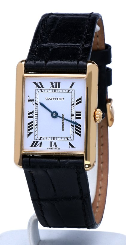 Cartier Tank Louis Yellow Gold Roman Dial Croco 18 krt   30 x... za ... d5f2ba56df
