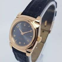 Rolex Cellini Cestello Ladies 18k Rose Gold Black Strap Watch...