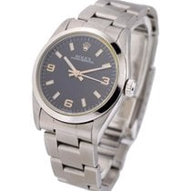Rolex Used 77080_used_oys_blk_arabic Steel Mid Size No Date -...