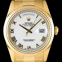 Rolex 18k Yellow Gold White Dial Day-Date Gents Wristwatch 118238