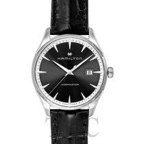 Hamilton Jazzmaster Gent Quartz Black Steel/Leather 40mm -...