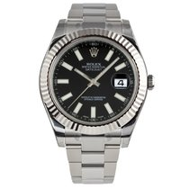 Rolex DATEJUST II 41mm 18K White Gold Bezel Black Index Dial