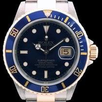 Rolex Submariner Date Bleue 16613 en or jaune 18k et acier