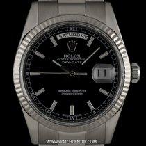 Ρολεξ (Rolex) 18k White Gold O/P Black Index Baton Dial...