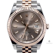 Rolex Datejust II Steel and Gold Sundust Stick Dial Fluted...