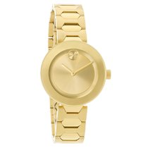Movado Bold Ladies Champagne Dial Gold Tone Swiss Quartz Watch...