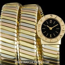Bulgari 18k Tri-Gold Black Dial Tubogas Ladies Wristwatch...
