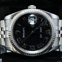 Rolex 2009 36mm Datejust, Steel, Black Roman, 116234, Box...