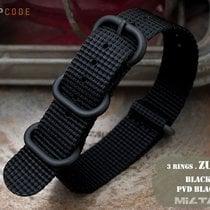 MiLTAT 18mm G10 ZULU Military Watch Band, Black PVD