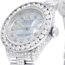 Rolex Ladies Rolex Datejust Oyster 26MM Black Dial Iced Out...