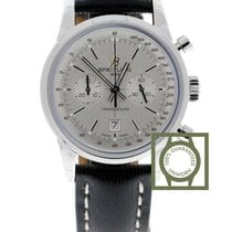 Breitling Transocean Chronograph 38mm Leather Silver Dial NEW