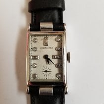 Hamilton Rectangular Platinum Watch with Hooded Lugs and...