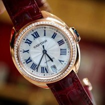Cartier Cle Flinque Dial Ladies Rose Gold Diamonds Watch