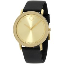 Movado Sapphire Gold Dial Black Leather Watch 0606883