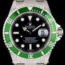 Rolex S/S Unworn Green Bezel Submariner Date NOS B&P 16610LV