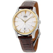 Oris Artelier Automatic Silver Dial Brown Leather Mens Watch...