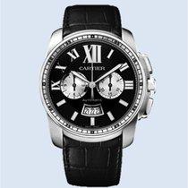 Cartier Calibre de Cartier Chronograph Stahl schwarz Leder -NEU-
