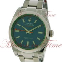 Rolex Milgauss, Blue Dial, Green Sapphire Crystal - Stainless...