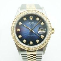 Rolex Datejust 36mm Two Tone Blue Vignette Diamonds Dial &...