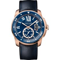 Cartier Calibre Diver Rose Gold Blue Ceramic Blue Strap
