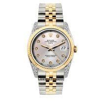 Rolex Date Unisex 34mm Off White Dial Gold And Stainless Steel...