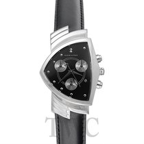 Hamilton Ventura Chrono Quartz Black Steel/Leather - H24412732