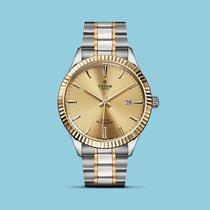 Tudor Style 41mm, geriffelte Lünette, Stahl/Gold-Band -NEU-