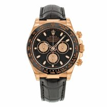 Rolex DAYTONA 18K Everose Gold Black Dial on Leather Strap 2017
