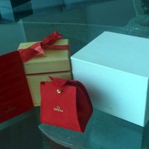 Omega Wood Watch box gift set with Red Ribbon and Card Holder
