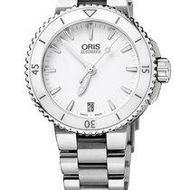 Oris Aquis Date 36, Ceramic Top, White Dial, Steel