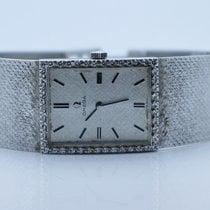 Omega Vintage 14K White Gold Watch With Diamond Bezel
