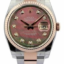 Rolex Datejust 36 Mother of Pearl Dial Diamond Marker Fluted...