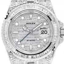 Rolex GMT Master II Stahl Weißgold Full Diamond 33ct Automatik...