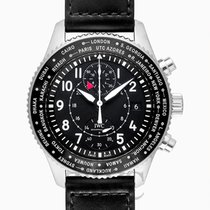 IWC Pilot's Watch Timezoner Chronograph Black Steel/Leathe...