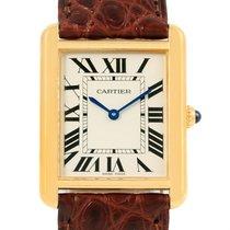 Cartier Tank Solo Yellow Gold Steel Brown Strap Unisex Watch...