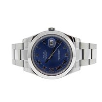 Rolex 116300 Mens Datejust 2 Blue Roman Dial Smooth Bezel NEW