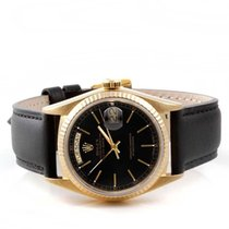Rolex Mens 18K Yellow Gold Day-Date President - Black Dial -...
